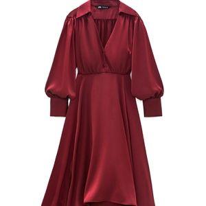NWTs zara burgundy satin dress